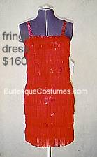 red fringe burlesque dress
