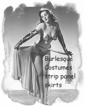 Burlesque bra and panty with strip panel skirt