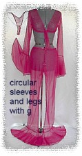 $100 fushia sheer net tie top and pants with circular accent hem rhinestone trim has g-string