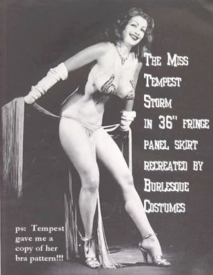 Tempest Storm in 36inch fringe panel skirt recreated by Burlesque Costumes